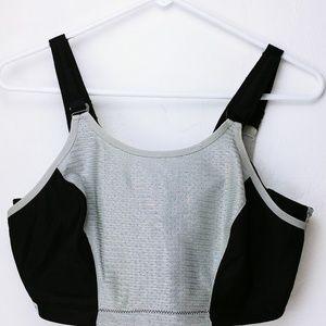 Glamorise silver and black sports bra